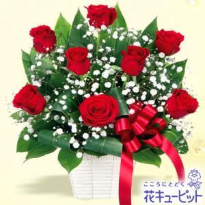 12月の誕生花(赤バラ等) 花キューピットの赤バラのリボンアレンジメント 誕生日 お祝い 記念日 プレゼント|i879
