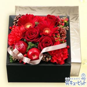 12月の誕生花(赤バラ等) 花キューピットの赤バラのBOXフラワー 誕生日 お祝い 記念日 プレゼント|i879