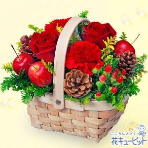 12月の誕生花(赤バラ等) 花キューピットの赤バラのウッドバスケット 誕生日 お祝い 記念日 プレゼント|i879