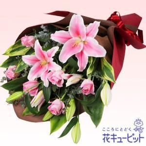 結婚記念日 花キューピットのユリの花束|i879