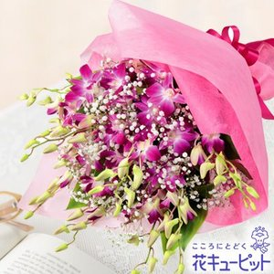 結婚記念日 花キューピットのピンクデンファレの花束|i879