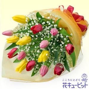 お祝い 花キューピットのチューリップのミックス花束 花 プレゼント 誕生日 記念日 歓送迎|i879