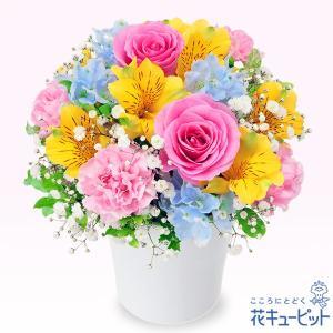 お祝い 花キューピットのアルストロメリアのカラフルアレンジメント 花 誕生日 記念日 歓送迎 結婚祝い|i879
