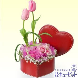結婚祝 花キューピットのチューリップのハートボックスアレンジメント 花 ギフト お祝い プレゼント|i879