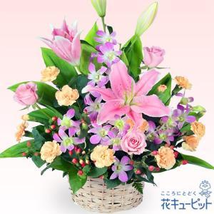 結婚祝 花キューピットのピンクユリのアレンジメント 花 ギフト お祝い プレゼント|i879