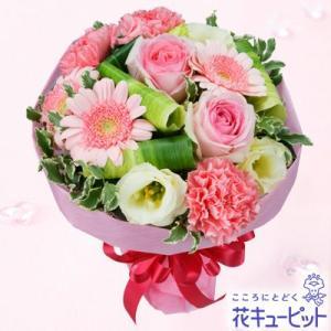 出産祝い 花キューピットのピンクバラとガーベラのブーケ 花 ギフト お祝い プレゼント i879