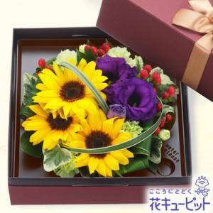 出産祝い 花キューピットのボックスフラワー i879