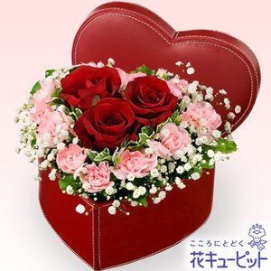 出産祝い 花キューピットの赤バラのハートボックスアレンジメント 花 ギフト お祝い プレゼント i879