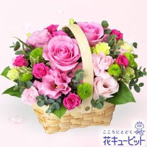 出産祝い 花キューピットのピンクバラのウッドバスケットアレンジメント 花 ギフト お祝い プレゼント i879