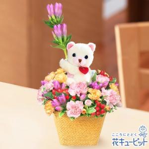 出産祝い 花キューピットの秋のラブリーベアーアレンジメント 花 ギフト お祝い プレゼント i879
