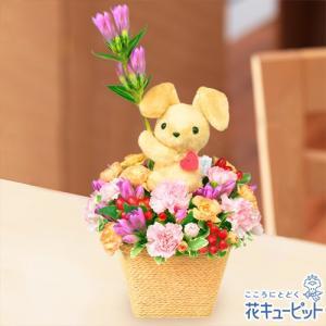 出産祝い 花キューピットの秋のラブリーうさぎアレンジメント 花 ギフト お祝い プレゼント i879