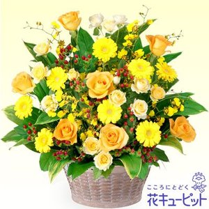 開店祝い・開業祝い 花キューピットのイエローオレンジのアレンジメント 花 ギフト お祝い プレゼント i879