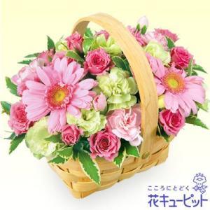 新築引っ越し祝い 花キューピットのピンクウッドバスケットアレンジ 花 ギフト お祝い プレゼント|i879
