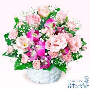 退職祝い 花キューピットのトルコキキョウとデンファレのアレンジメント 花 ギフト お祝い プレゼント i879