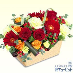 退職祝い 花キューピットの赤バラのスクエアバスケット 花 ギフト お祝い プレゼント i879
