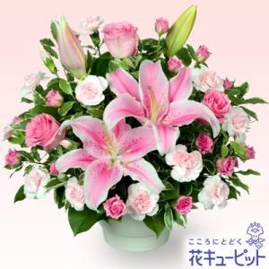 退職祝い 花キューピットのピンクユリのコンポート 花 ギフト お祝い プレゼント i879