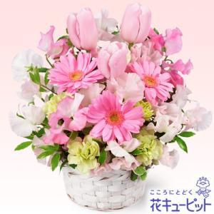 お見舞い 花キューピットの春のピンクアレンジメント(ピンク) 花 ギフト プレゼント|i879