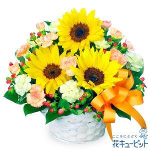 お見舞い 花キューピットのひまわりのアレンジメント