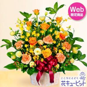 お見舞い 花キューピットのオレンジバラのリボンアレンジメント 花 ギフト プレゼント|i879