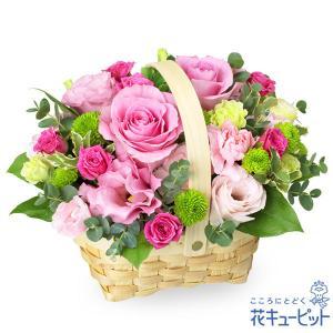 お見舞い 花キューピットのピンクバラのウッドバスケットアレンジメント 花 ギフト プレゼント|i879