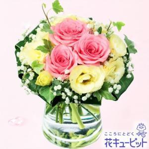 お見舞い 花キューピットのピンクバラのグラスブーケ|i879