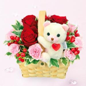 お見舞い 花キューピットのくまのマスコット付きアレンジメント 花 ギフト プレゼント|i879