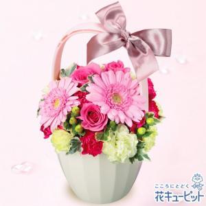 お見舞い 花キューピットのピンクガーベラとバラのアレンジメント 花 ギフト プレゼント|i879