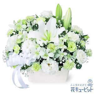 凛とした白いユリに、ふんわりと優しい雰囲気の花々をあわせました。白上がりのお花は、お通夜やご葬儀にも...