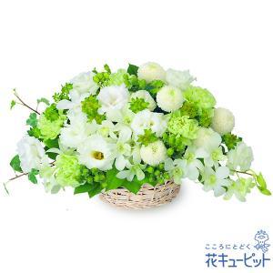 ふんわりと優しげな花々を使った、お供えのアレンジメントです。柔らかな雰囲気のお花が、故人との想い出に...