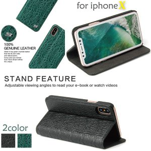 スマホケース 手帳型 iphoneX スマホカバー アイフォン ケース i Phone アイホン アイフォンX アイホンX 本革 クロコ柄 カード収納 スタンド|iah-rare-case-shop