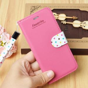 iphone6 iPhone6plus ケース ドット柄 水玉 手帳型 ストラップ付き 4.7インチ 5.5インチ スマホカバー 可愛いケース アイフォンカバー 全7色|iah-rare-case-shop