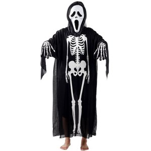 ハロウィン コスプレ 最短翌日着  スクリームに出てくるスケルトンゴースト 全身仮装 マスク・マント・手袋 3点セット 大人用|iandi