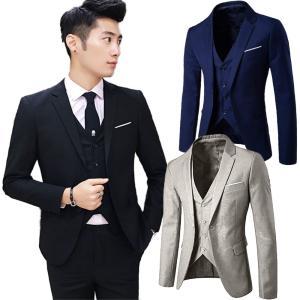 スーツ セットアップ メンズ 3点セット♪ 3ピース 細身 オルチャン 韓国 S〜3XL|iandi