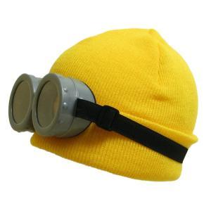ハロウィン コスプレ 最短翌日着 ミニオン風なりきりニット帽&ゴーグルセット 子供から大人まで使えるお買い得セットのお手軽仮装グッズです iandi