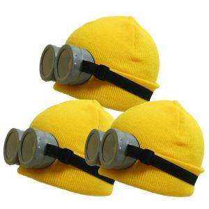 ハロウィン コスプレ 最短翌日着 ミニオン風なりきりニット帽&ゴーグル3組セット 子供から大人まで使えるお買い得セットのお手軽仮装グッズです iandi