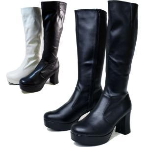 厚底ブーツ ストレッチブーツ ボリューム ヒール デザイン 厚底  ロングブーツ ストームブーツ 723|ibc
