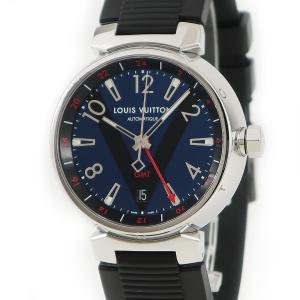 ルイヴィトン LOUISVUITTON タンブール GMT Q1157 メンズ 腕時計 自動巻き ネイビー 中古|ibe7171