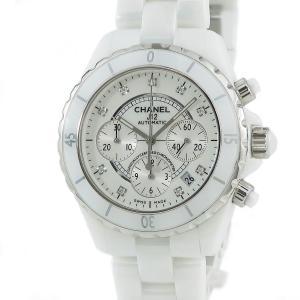 シャネル CHANEL J12 クロノ H2009 純正ダイヤ 白 メンズ 腕時計 自動巻き ホワイ...