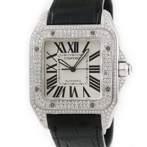 カルティエ Cartier サントス100 LM W20073X8 全面ダイヤ メンズ 腕時計 自動巻き シルバー 中古|ibe7171