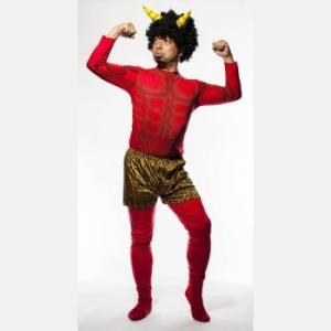 節分 鬼 節分 赤鬼セットリアルボディ 角付かつら、パンツ、筋肉シャツ、タイツのセット|ibepara