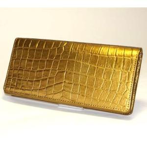 クロコダイル 型押し 長財布 ゴールドワニ型押し長財布 牛革 財布 クロコダイル財布|ibepara