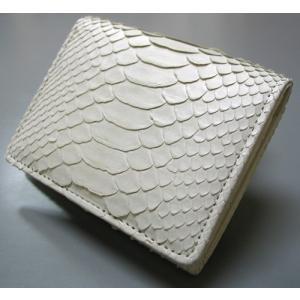 パイソン 財布 蛇革財布 白マットパイソン 2つ折財布ボックス小銭入(腹部分パイソン革使用)|ibepara