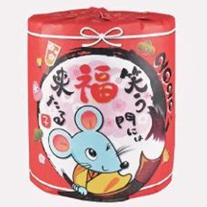 トイレットペーパー トイレットペーパー 日本の正月 年賀 干支 子 100個販売 トイレットロール 2979 ノベルティ 販促品 景品 ※商品代引同梱不可|ibepara