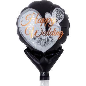 風船 パーティー用バルーン メッセージ柄 ハッピーウエディング レースブラック 風船 10枚販売 ibepara