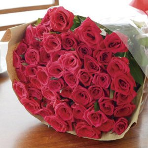 プレゼント バラの花束50本(メッセージカード 切花延命剤 お手入れのしおり付き)E7102-07 【代引不可】 ibepara