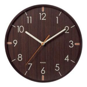 球面ガラスのウッドウォールクロック ダークブラウン YW9112DBR 掛時計 掛け時計 壁掛け時計 新生活応援|ibepara