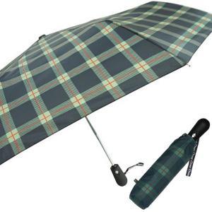 クロス 開閉ジャンプミニ傘 格子 緑 CR4111B ジャンプ 折りたたみ傘 自動開閉 雨傘|ibepara