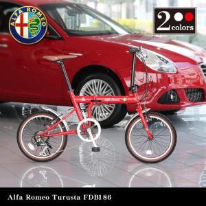 Alfa Romeo Turista FDB186 18インチ コンパクト折りたたみ自転車 シマノ6段変速ギア搭載 13.1kg 前後泥除け搭載