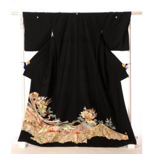 留袖 レンタル 黒留袖 フルセット 8AA41 着物 結婚式 貸衣装 熨斗流れ 扇面 149cm〜1...