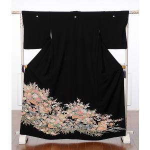 留袖 レンタル 黒留袖レンタルフルセット 8AA50 結婚式 貸衣装 着物 加賀調 牡丹 149cm...